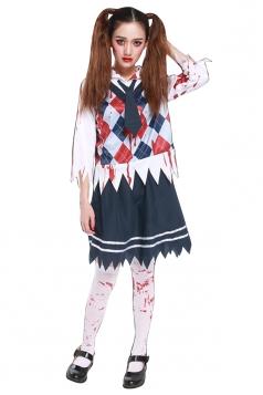 Womens Bloody School Girl Halloween Costume Navy Blue