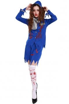 Womens Bloody Long Sleeve Halloween Stewardess Costume Sapphire Blue