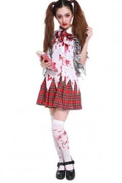 Womens Bloody Irregular Plaid Halloween School Girl Costume Silvery