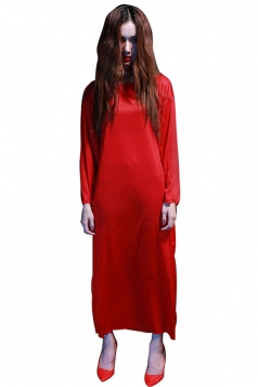 Womens Plain Long Sleeve Sadako Halloween Zombie Costume Red