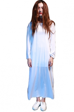 Womens Plain Long Sleeve Sadako Halloween Zombie Costume White