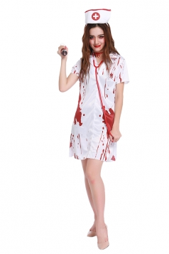 Womens Bloody Short Sleeve Halloween Nurse Costume White