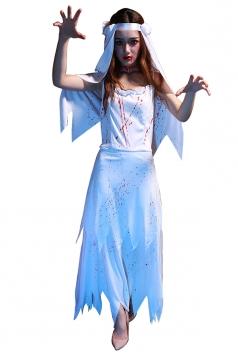 Womens Irregular Sleeveless Corpse Bride Halloween Costume White