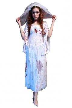 Womens Open Sleeve Halloween Corpse Bride Halloween Costume White