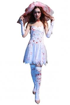 Womens Bloody Spaghetti Straps Corpse Bride Halloween Costume White
