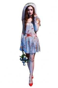 Womens Bloody Sleeveless Corpse Bride Halloween Costume Light Gray