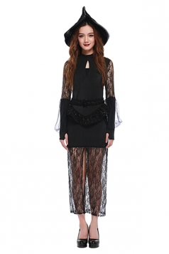 Womens Lace Patchwork Slit Witch Halloween Costume Black