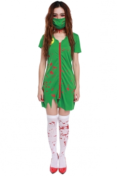Womens Zip Up Irregular Halloween Nurse Costume Green