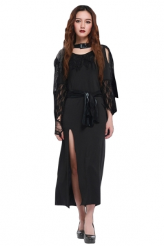 Womens Open Sleeve Side Slit Halloween Witch Costume Black