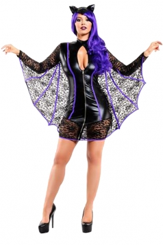 Womens Sexy Long Sleeve Keyhole Halloween Bat Costume Black