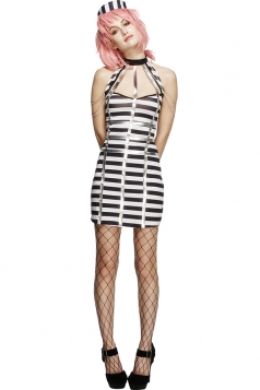 Womens Striped Halter Sleeveless Halloween Prisoner Costume Black