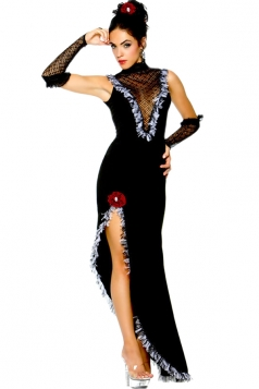 Womens Sexy Sleeveless Side Slit Halloween Dancer Costume Black