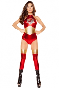 Womens Off Shoulder Flash Halloween Superhero Costume Red