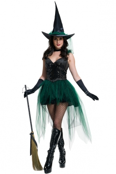 Womens Sexy Cosplay Witch Halloween Costume Green