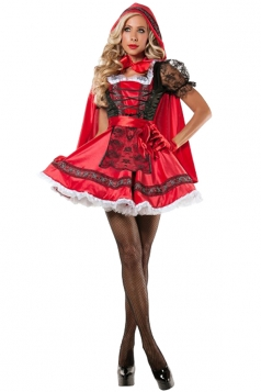Womens Little Red Riding-hood Mesh Halloween Costume Red