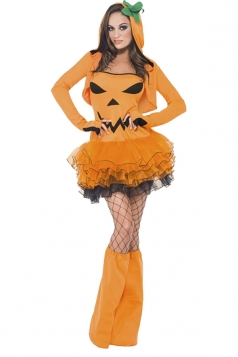 Womens Tutu Halloween Pumpkin Costume Orange