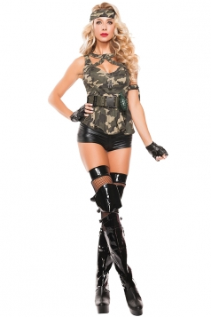 Womens Camouflage Sleeveless Halloween Cop Costume Army Green