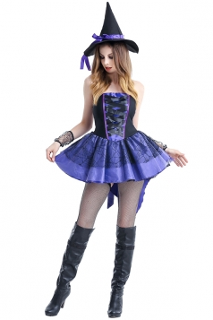 Womens Criss Cross Back High Low Halloween Witch Costume Blue