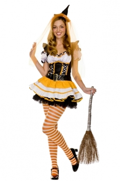 Womens Low-cut Ruffle Witch Halloween Costume Yellow