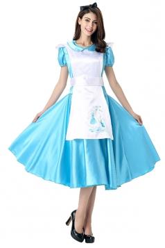 Womens Short Sleeve Midi Dress Halloween Maid Costume Blue