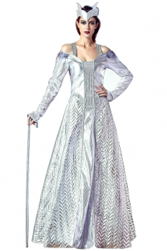 Womens Cold Shoulder Long Sleeve Halloween Evil Queen Costume Silvery