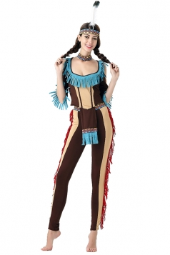 Womens Fringe Color Block Halloween Indian Costume Brown