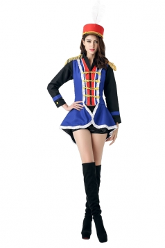 Womens Color Block Long Sleeve Halloween Circus Costume Blue