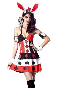 Womens Off Shoulder Poker Halloween Costumer Black