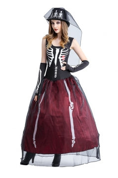 Womens Skeleton Printed Maxi Halloween Zombie Bride Costumer Ruby