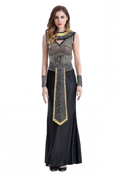 Womens Maxi Halloween Egyptian Queen Cleopatra Costume Black