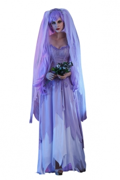 Womens Maxi Tube Halloween Zombie Bride Costume Light Purple