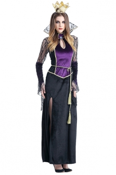 Womens Side Slit Maxi Halloween Vampire Costume Black