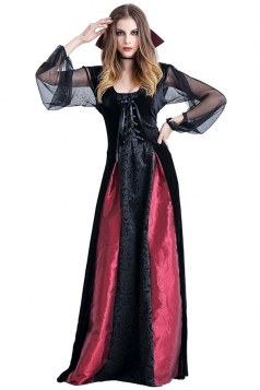 Womens Open Sleeve Maxi Halloween Vampire Costume Black