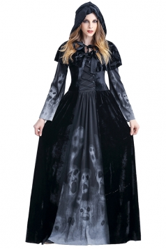 Womens Hooded Lace-up Maxi Halloween Witch Costume Black