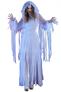 Womens Tassel Maxi Halloween Zombie Bride Costume White