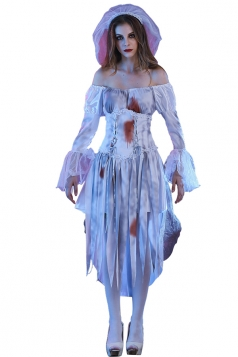 Womens Off Shoulder Tassel Halloween Bloody Zombie Bride Costume White