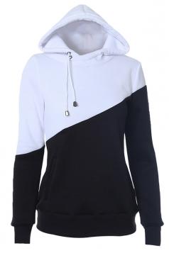 Womens Color Block Drawstring Long Sleeve Pullover Hoodie Black