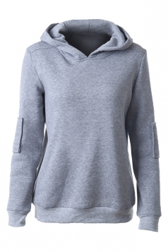 Womens Plain Applique Long Sleeve Pullover Hoodie Gray