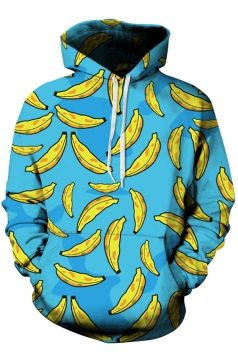 Womens Banana Printed Long Sleeve Pocket Pullover Hoodie Blue