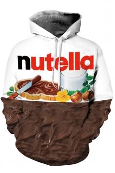Womens Nutella Printed Long Sleeve Pocket Pullover Hoodie Chestnut