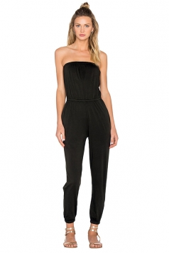 Womens Tube Plain Elastic Ankle Length Jumpsuit Black