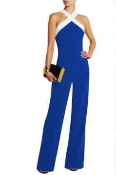 Womens Off Shoulder Tunic Color Block Jumpsuit Blue