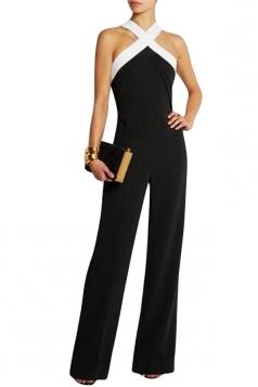 Womens Off Shoulder Tunic Color Block Jumpsuit Black