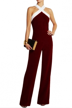 Womens Off Shoulder Tunic Color Block Jumpsuit Ruby
