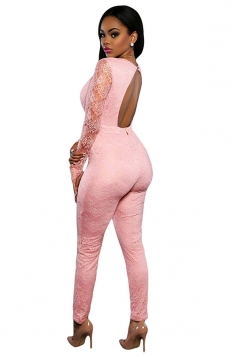 Womens Plunging Neck Lace Long Sleeve Open Back Jumpsuit Pink