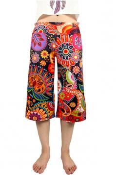 Womens Low Rise Floral Printed Palazzo Half Pants Orange