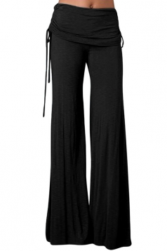 Womens Side Drawstring Plain Palazzo Bell Pants Black
