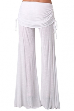 Womens Side Drawstring Plain Palazzo Bell Pants White