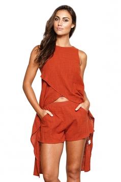 Womens Irregular Sleeveless Top&Plain Shorts Suit Tangerine