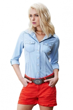 Womens Turndown Collar Single-breasted Demin Blouse Light Blue